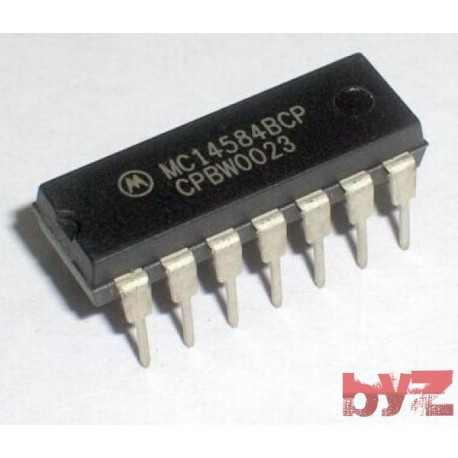 MC14584BCP - CD4584BCN - CD4584BE - Logic Circuit, HEX Inverter, CMOS, DIP 14 MC14584B 14584B MC14584 CD4584B CD4584 HEF4584